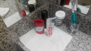 FIRST TIME I HAVE SEEN MY TOILETRIES NEATLY ARRANGED